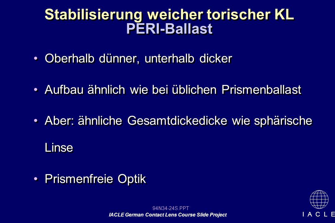 94N34-24S.PPT IACLE German Contact Lens Course Slide Project I A C L E Stabilisierung weicher torischer KL Oberhalb dünner, unterhalb dicker Aufbau ähnlich wie bei üblichen Prismenballast Aber: ähnliche Gesamtdickedicke wie sphärische Linse Prismenfreie Optik Oberhalb dünner, unterhalb dicker Aufbau ähnlich wie bei üblichen Prismenballast Aber: ähnliche Gesamtdickedicke wie sphärische Linse Prismenfreie Optik PERI-Ballast