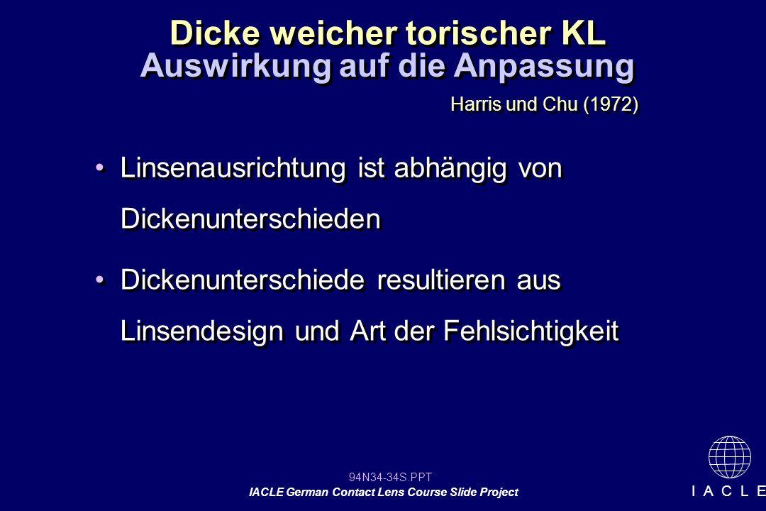 94N34-34S.PPT IACLE German Contact Lens Course Slide Project I A C L E Dicke weicher torischer KL Linsenausrichtung ist abhängig von Dickenunterschieden Dickenunterschiede resultieren aus Linsendesign und Art der Fehlsichtigkeit Linsenausrichtung ist abhängig von Dickenunterschieden Dickenunterschiede resultieren aus Linsendesign und Art der Fehlsichtigkeit Auswirkung auf die Anpassung Harris und Chu (1972)