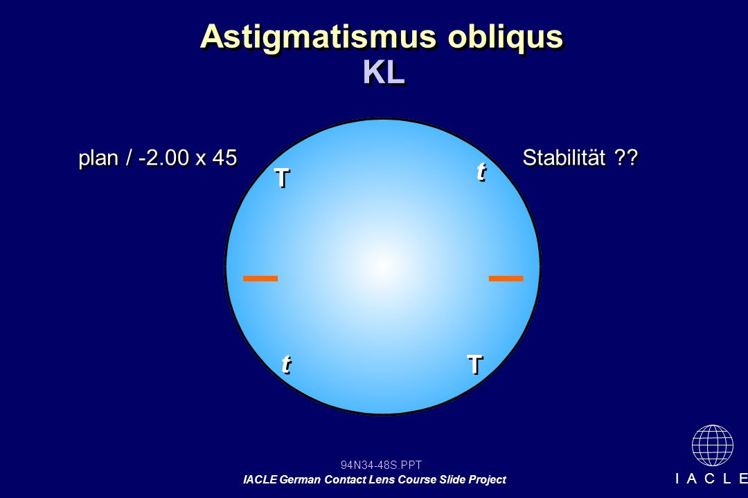 94N34-48S.PPT IACLE German Contact Lens Course Slide Project I A C L E Astigmatismus obliqus KL T T T T t t plan / -2.00 x 45 t t Stabilität ??
