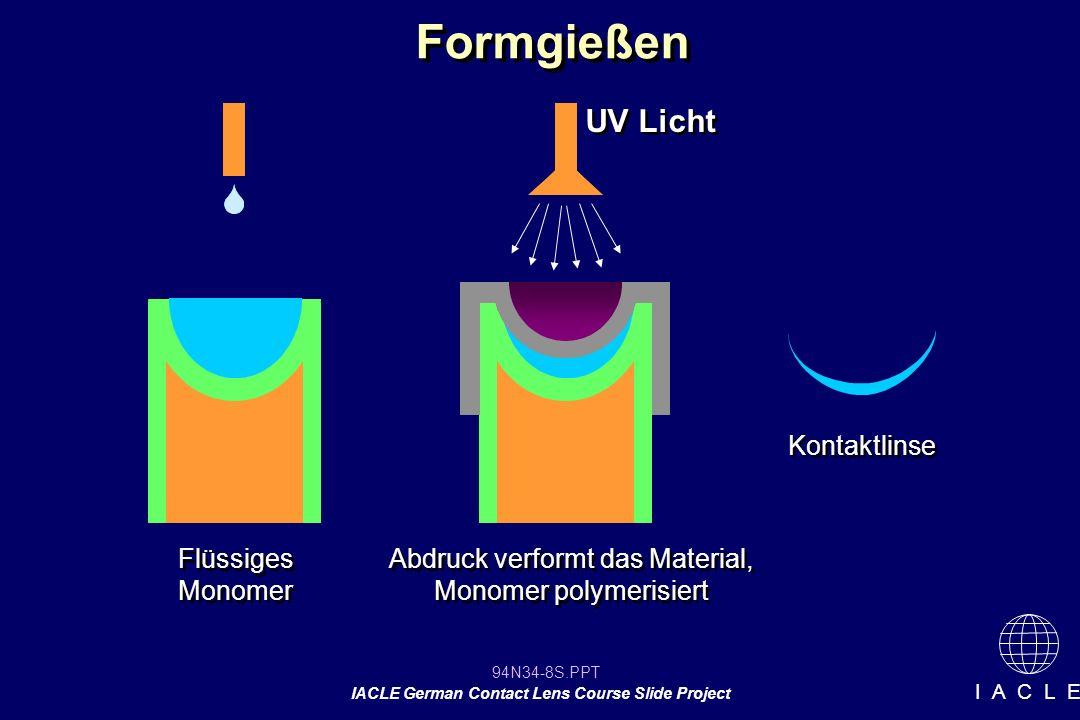 94N34-8S.PPT IACLE German Contact Lens Course Slide Project I A C L E Formgießen Flüssiges Monomer UV Licht Abdruck verformt das Material, Monomer polymerisiert Kontaktlinse