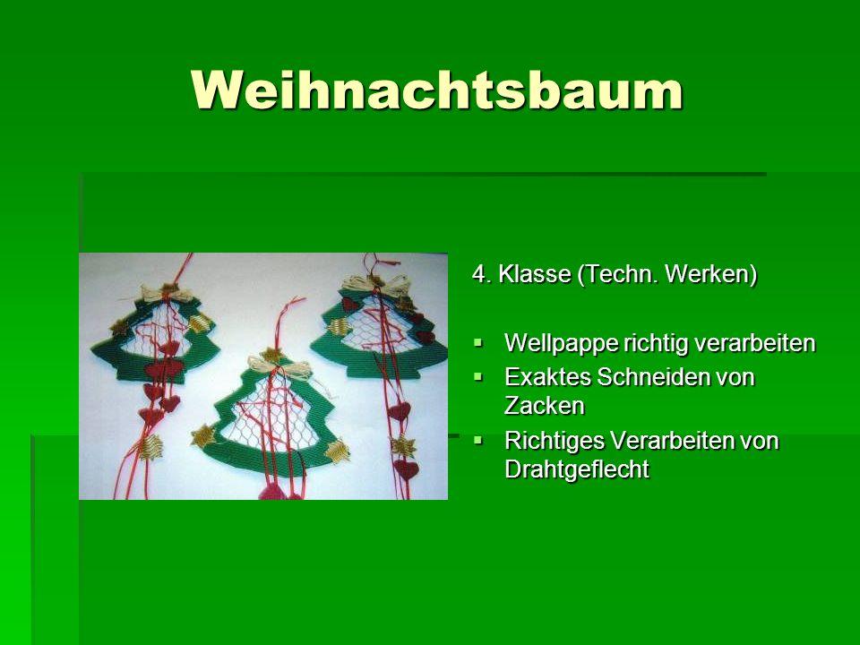 Weihnachtsbaum 4. Klasse (Techn. Werken) Wellpappe richtig verarbeiten Wellpappe richtig verarbeiten Exaktes Schneiden von Zacken Exaktes Schneiden vo