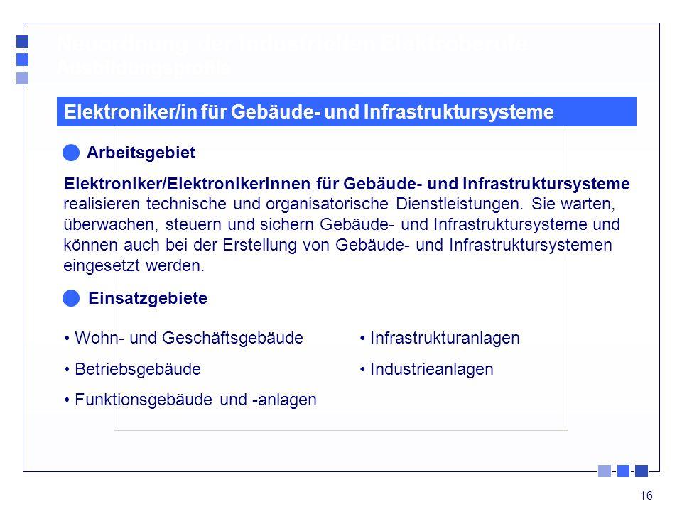 16 Elektroniker/in für Gebäude- und Infrastruktursysteme Arbeitsgebiet Elektroniker/Elektronikerinnen für Gebäude- und Infrastruktursysteme realisiere