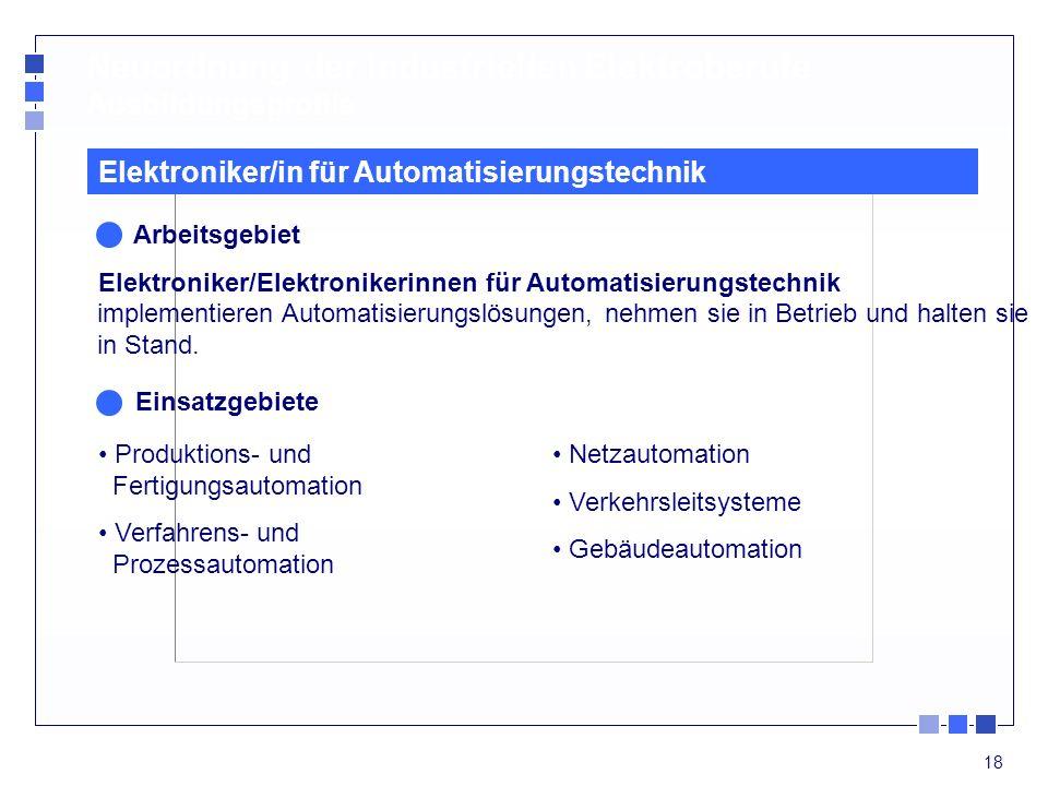 18 Neuordnung der industriellen Elektroberufe Ausbildungsprofile Produktions- und Fertigungsautomation Verfahrens- und Prozessautomation Elektroniker/