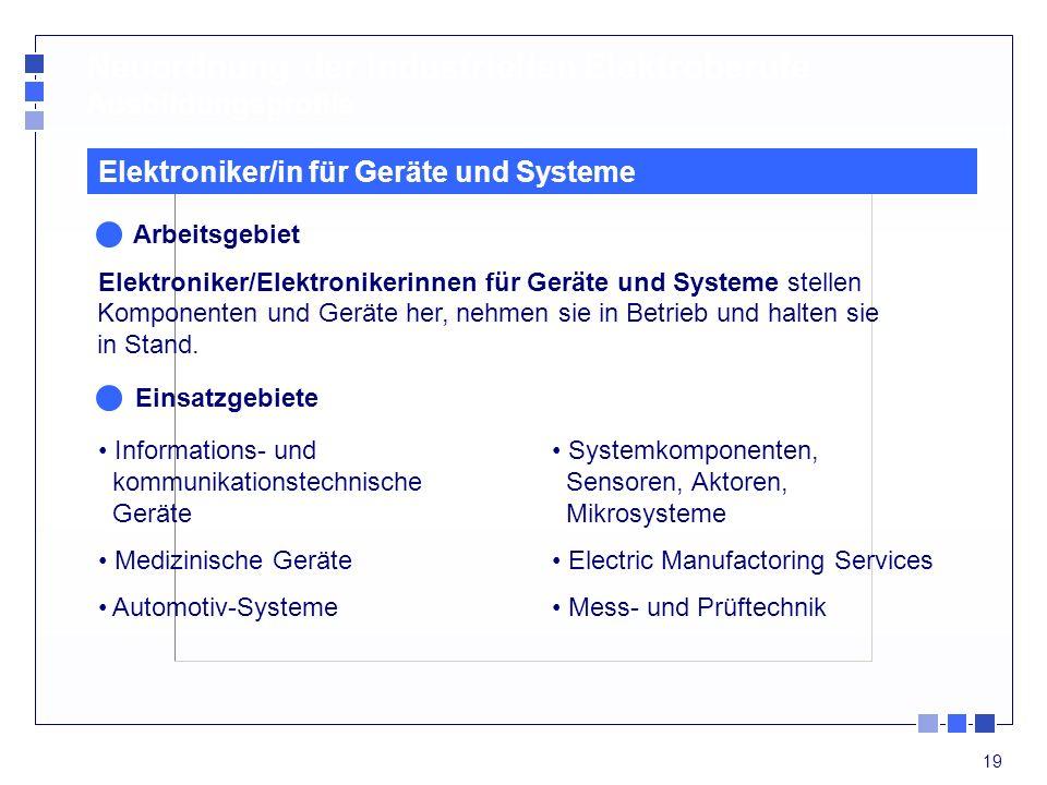 19 Neuordnung der industriellen Elektroberufe Ausbildungsprofile Informations- und kommunikationstechnische Geräte Medizinische Geräte Automotiv-Syste