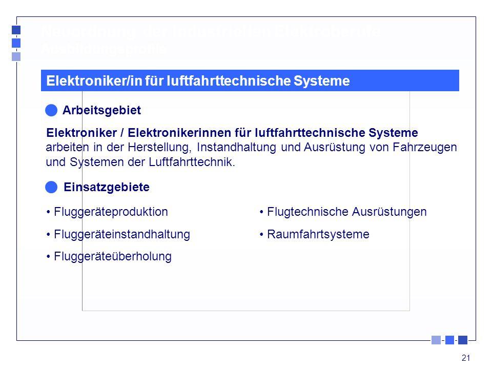 21 Neuordnung der industriellen Elektroberufe Ausbildungsprofile Elektroniker/in für luftfahrttechnische Systeme Arbeitsgebiet Elektroniker / Elektron