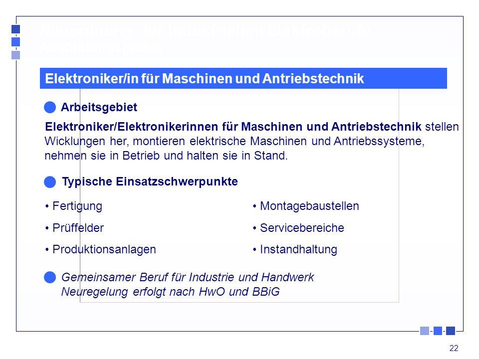 22 Neuordnung der industriellen Elektroberufe Ausbildungsprofile Fertigung Prüffelder Produktionsanlagen Elektroniker/in für Maschinen und Antriebstec
