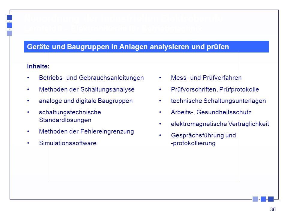 36 Inhalte: Betriebs- und Gebrauchsanleitungen Methoden der Schaltungsanalyse analoge und digitale Baugruppen schaltungstechnische Standardlösungen Me
