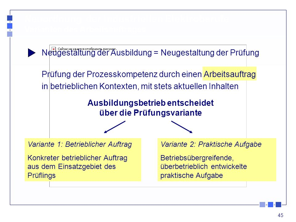 45 Neugestaltung der Ausbildung = Neugestaltung der Prüfung Prüfung der Prozesskompetenz durch einen Arbeitsauftrag in betrieblichen Kontexten, mit st
