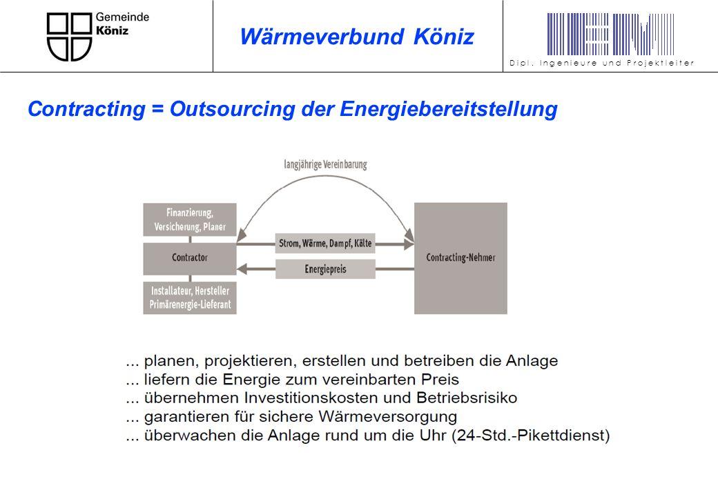 D i p l. I n g e n i e u r e u n d P r o j e k t l e i t e r Wärmeverbund Köniz Contracting = Outsourcing der Energiebereitstellung
