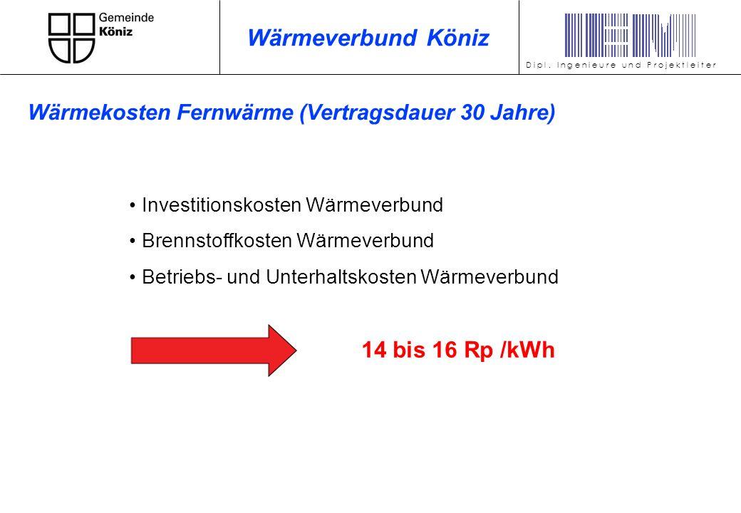 Investitionskosten Wärmeverbund Brennstoffkosten Wärmeverbund Betriebs- und Unterhaltskosten Wärmeverbund 14 bis 16 Rp /kWh D i p l. I n g e n i e u r
