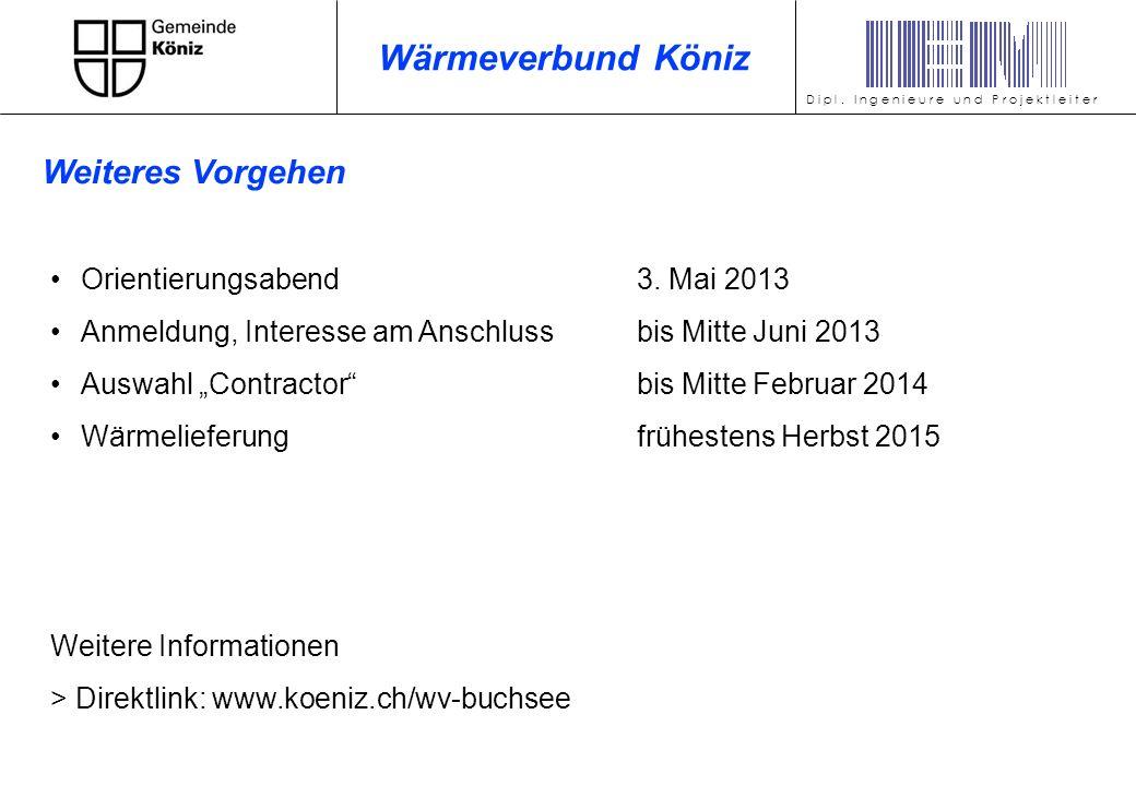 Orientierungsabend3. Mai 2013 Anmeldung, Interesse am Anschlussbis Mitte Juni 2013 Auswahl Contractorbis Mitte Februar 2014 Wärmelieferungfrühestens H