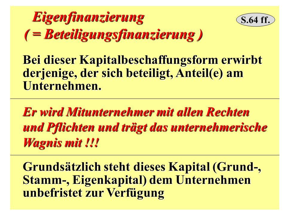 Eigenfinanzierung Eigenfinanzierung ( = Beteiligungsfinanzierung ) ( = Beteiligungsfinanzierung ) Bei dieser Kapitalbeschaffungsform erwirbt Bei diese