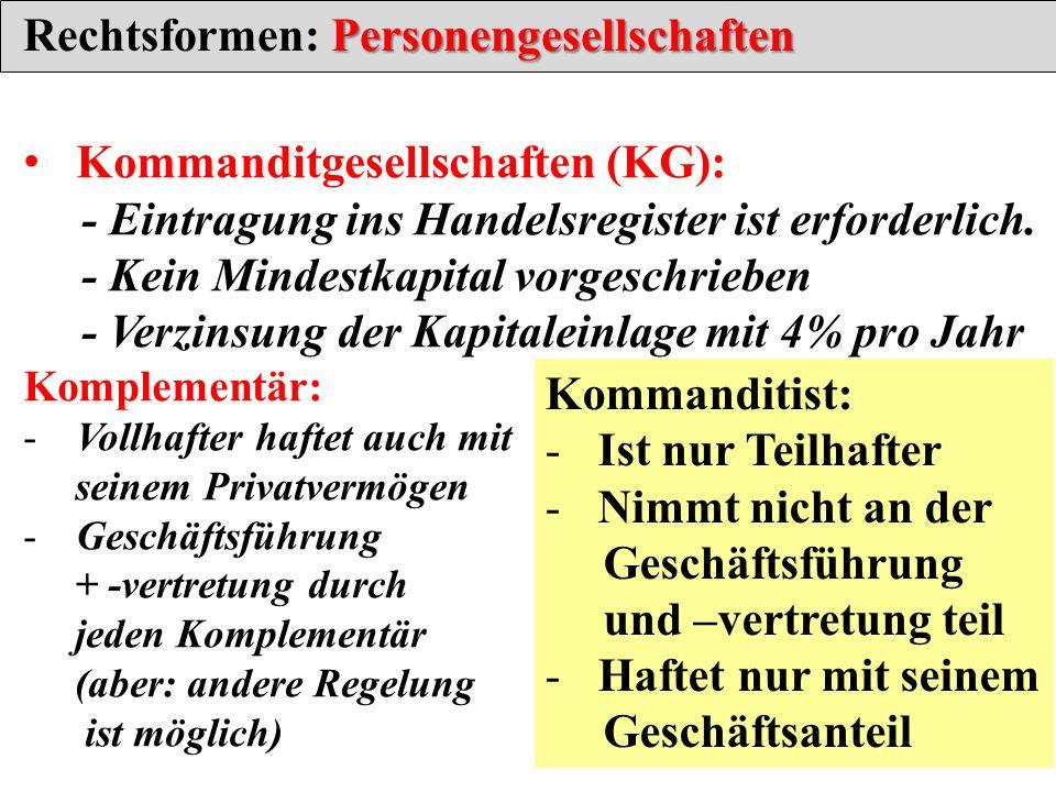 Personengesellschaften Rechtsformen: Personengesellschaften Kommanditgesellschaften (KG): - Eintragung ins Handelsregister ist erforderlich. - Kein Mi