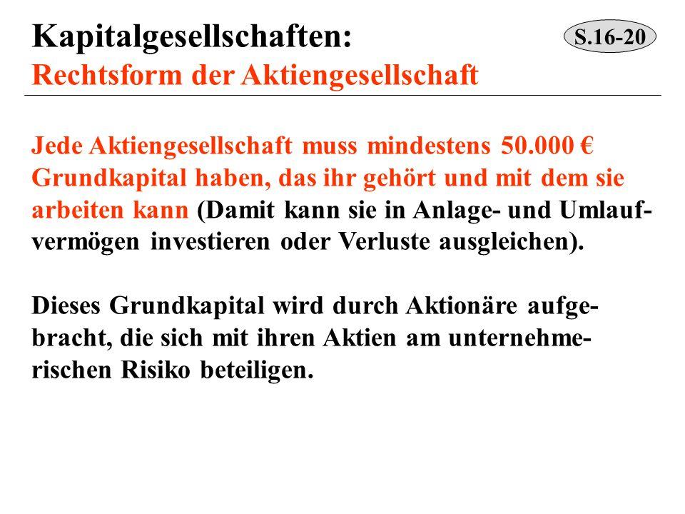 Kapitalgesellschaften: Rechtsform der Aktiengesellschaft Jede Aktiengesellschaft muss mindestens 50.000 Grundkapital haben, das ihr gehört und mit dem