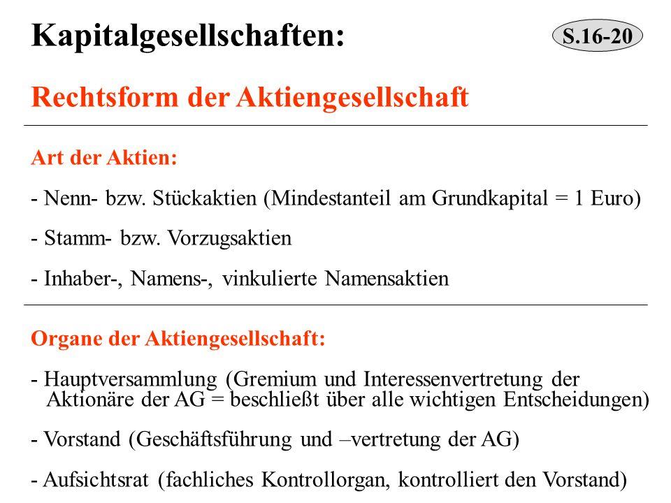Kapitalgesellschaften: Rechtsform der Aktiengesellschaft Art der Aktien: - Nenn- bzw. Stückaktien (Mindestanteil am Grundkapital = 1 Euro) - Stamm- bz