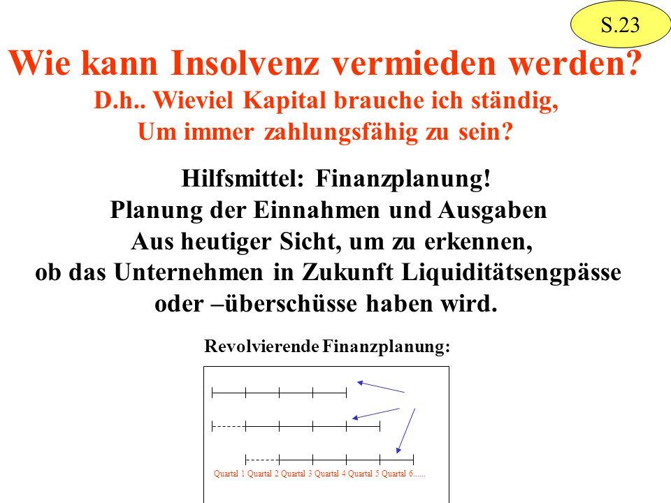 Wie kann Insolvenz vermieden werden? D.h.. Wieviel Kapital brauche ich ständig, Um immer zahlungsfähig zu sein? Hilfsmittel: Finanzplanung! Planung de