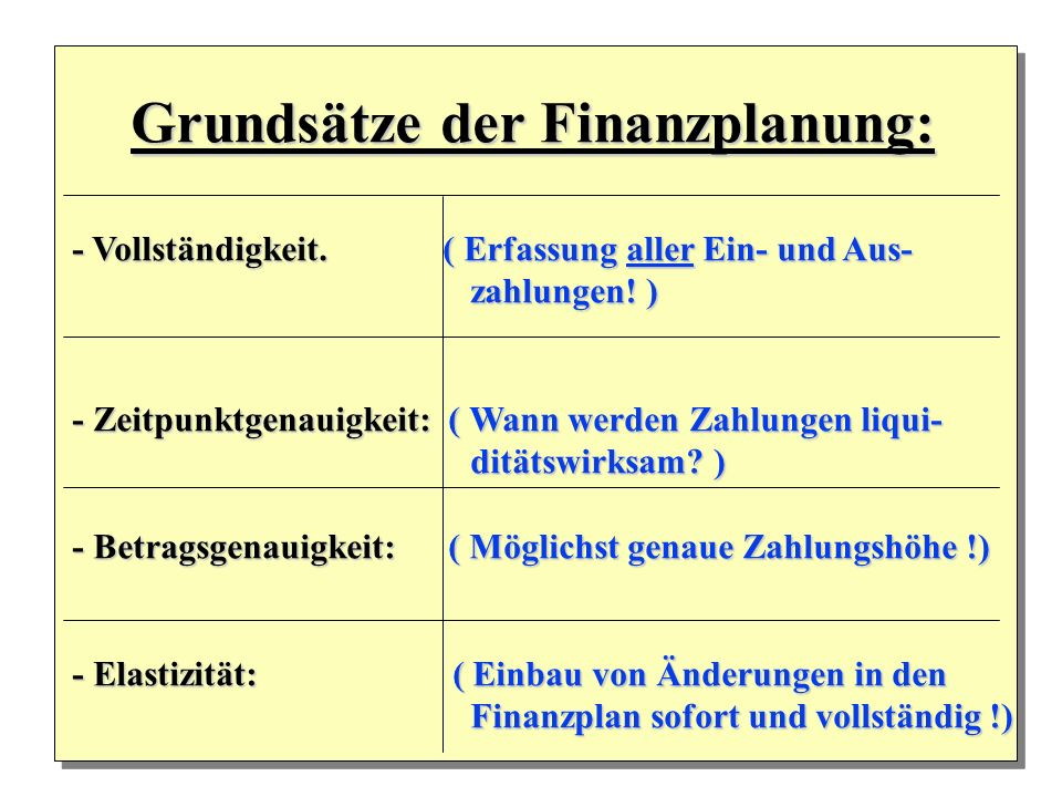 Grundsätze der Finanzplanung: Grundsätze der Finanzplanung: - Vollständigkeit. ( Erfassung aller Ein- und Aus- zahlungen! ) zahlungen! ) - Zeitpunktge
