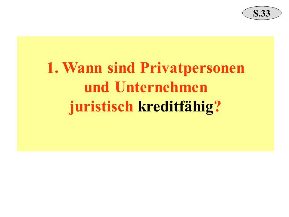 1. Wann sind Privatpersonen und Unternehmen juristisch kreditfähig? S.33