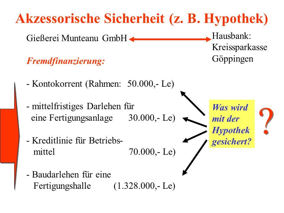 Akzessorische Sicherheit (z. B. Hypothek) Gießerei Munteanu GmbH Fremdfinanzierung: - Kontokorrent (Rahmen: 50.000,- Le) - mittelfristiges Darlehen fü