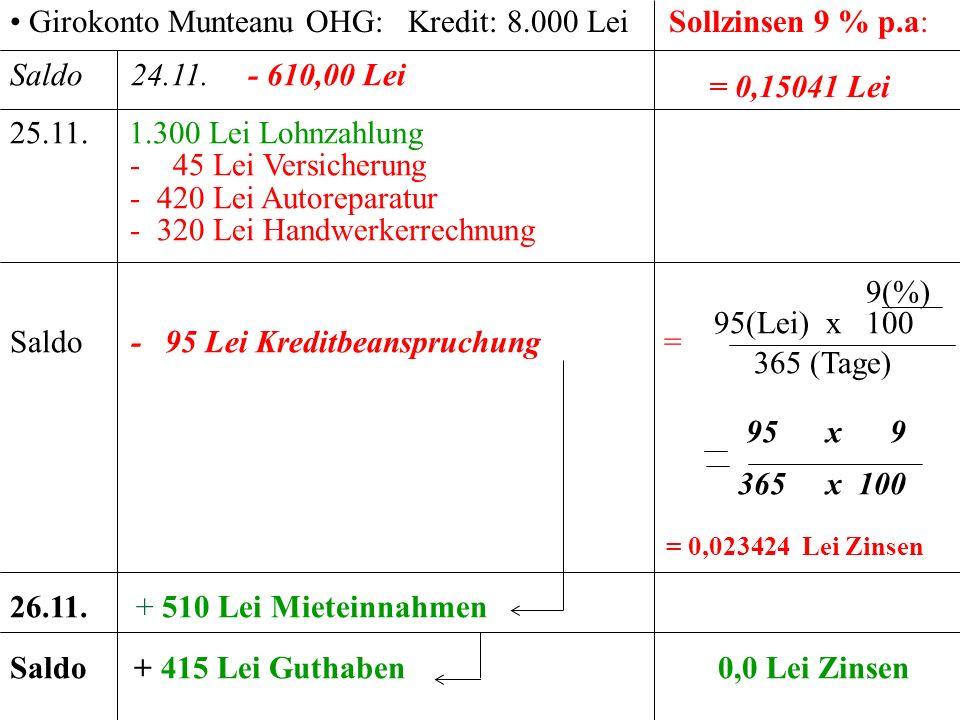 Girokonto Munteanu OHG: Kredit: 8.000 Lei Sollzinsen 9 % p.a: = 0,15041 Lei Saldo 24.11. - 610,00 Lei 25.11. 1.300 Lei Lohnzahlung - 45 Lei Versicheru