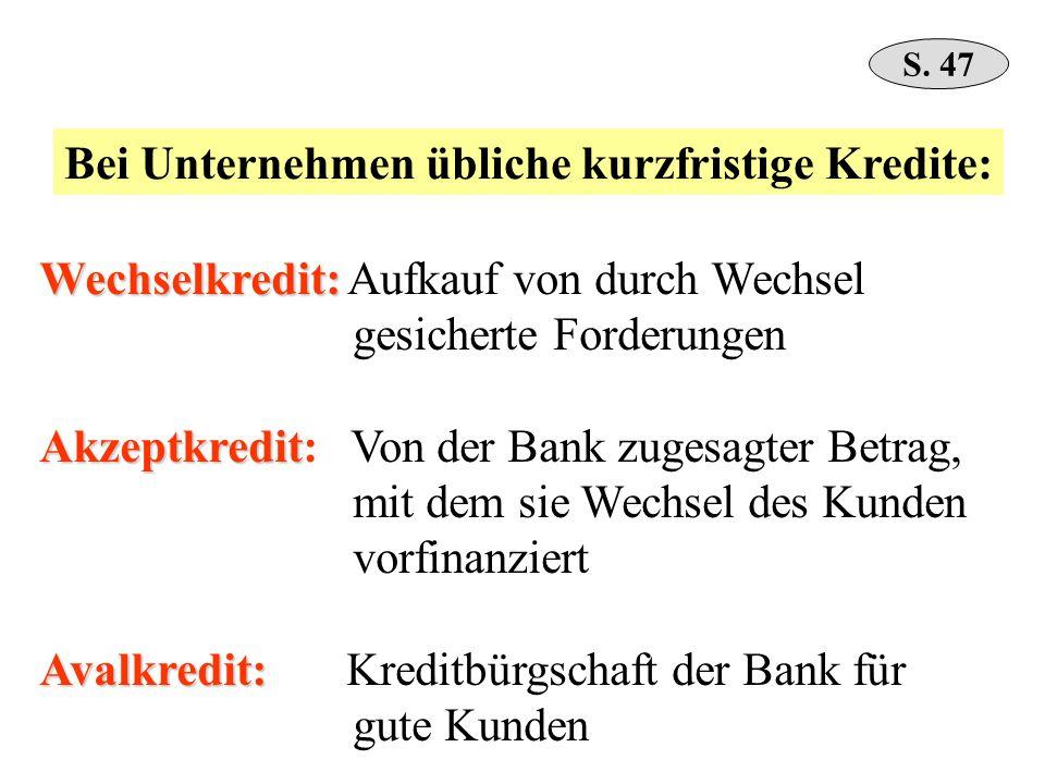 Wechselkredit: Wechselkredit: Aufkauf von durch Wechsel gesicherte Forderungen Akzeptkredit Akzeptkredit: Von der Bank zugesagter Betrag, mit dem sie