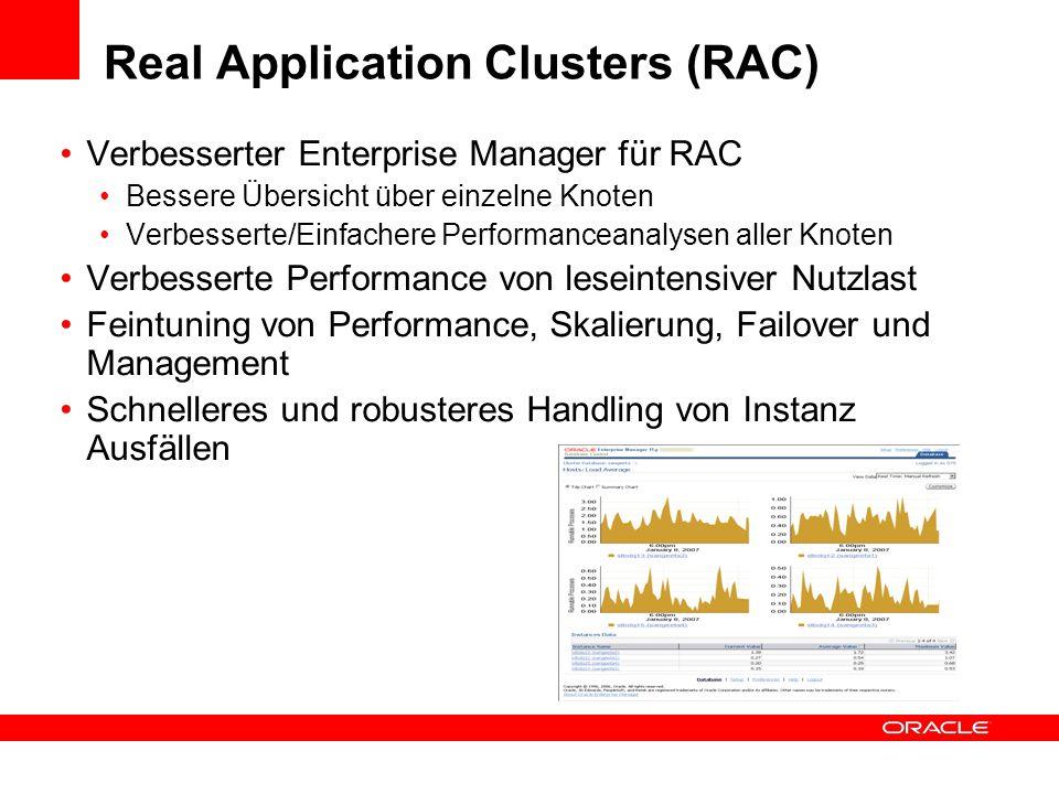 Real Application Clusters (RAC) Verbesserter Enterprise Manager für RAC Bessere Übersicht über einzelne Knoten Verbesserte/Einfachere Performanceanaly