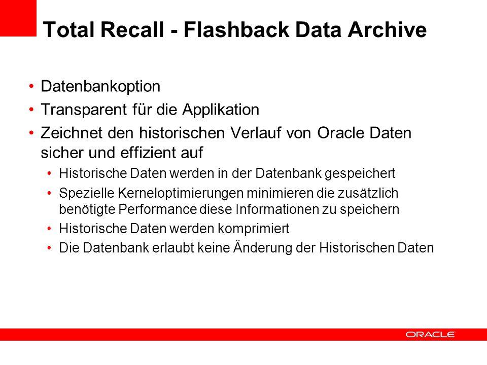 Datenbankoption Transparent für die Applikation Zeichnet den historischen Verlauf von Oracle Daten sicher und effizient auf Historische Daten werden i