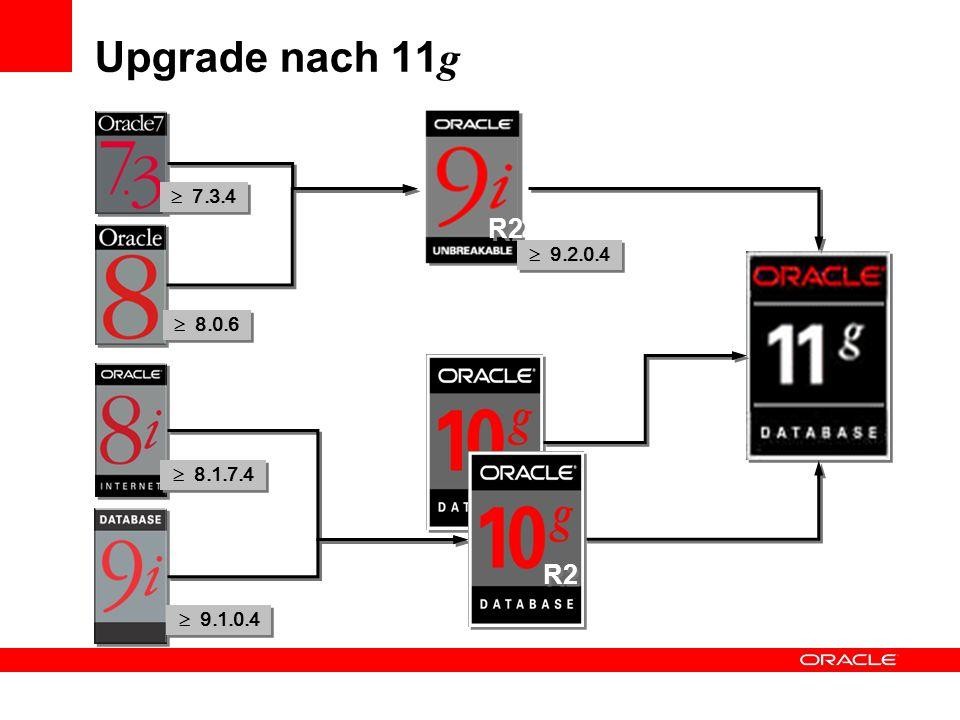 Upgrade nach 11 g R2 7.3.4 9.2.0.4 8.0.6 8.1.7.4 9.1.0.4 R2