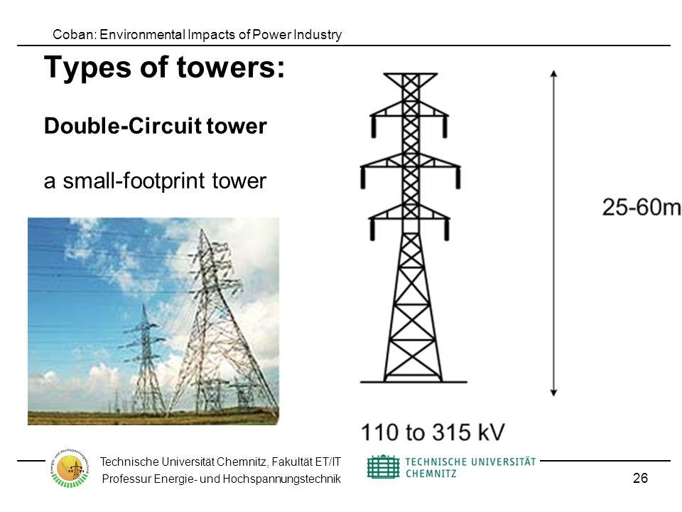 Coban: Environmental Impacts of Power Industry Technische Universität Chemnitz, Fakultät ET/IT Professur Energie- und Hochspannungstechnik Types of towers: Double-Circuit tower a small-footprint tower 26