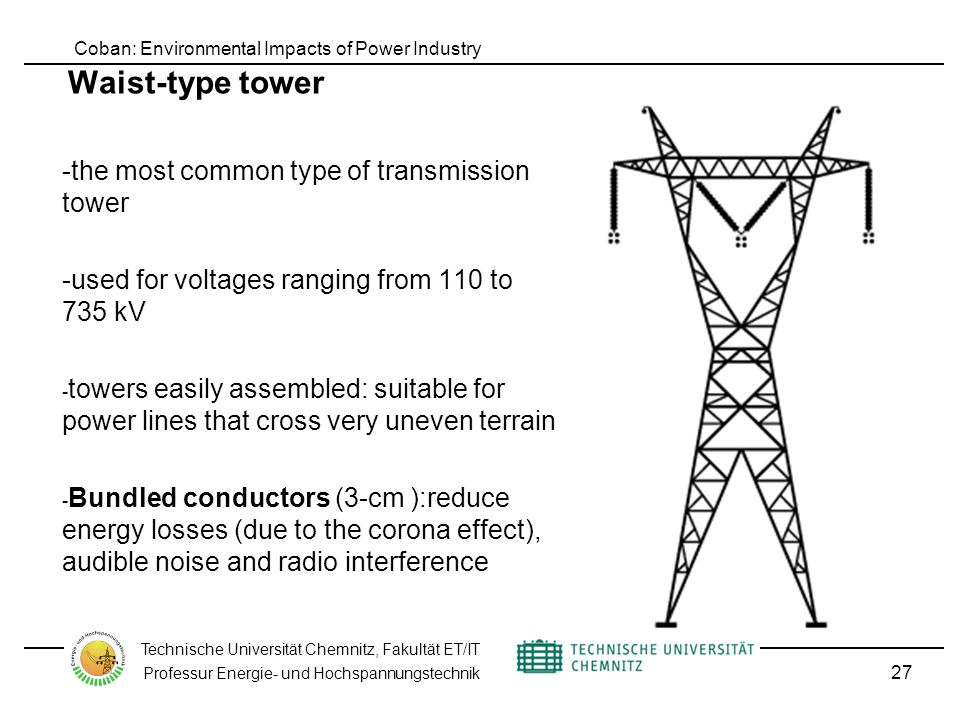 Coban: Environmental Impacts of Power Industry Technische Universität Chemnitz, Fakultät ET/IT Professur Energie- und Hochspannungstechnik Waist-type tower -the most common type of transmission tower -used for voltages ranging from 110 to 735 kV - towers easily assembled: suitable for power lines that cross very uneven terrain - Bundled conductors (3-cm ):reduce energy losses (due to the corona effect), audible noise and radio interference 27