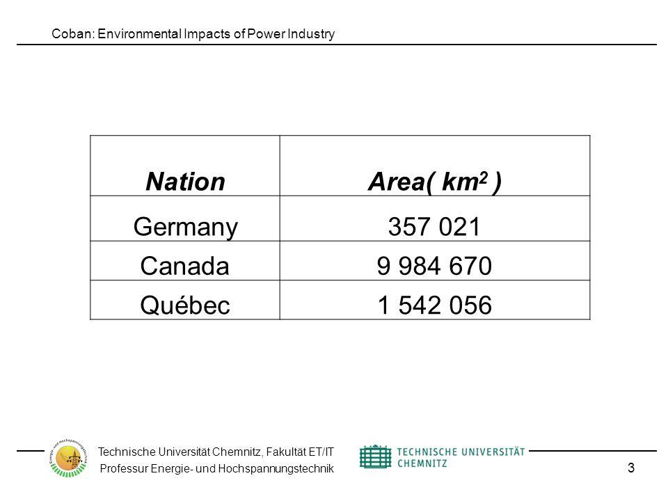 Coban: Environmental Impacts of Power Industry Technische Universität Chemnitz, Fakultät ET/IT Professur Energie- und Hochspannungstechnik 3 NationArea( km 2 ) Germany357 021 Canada9 984 670 Québec1 542 056