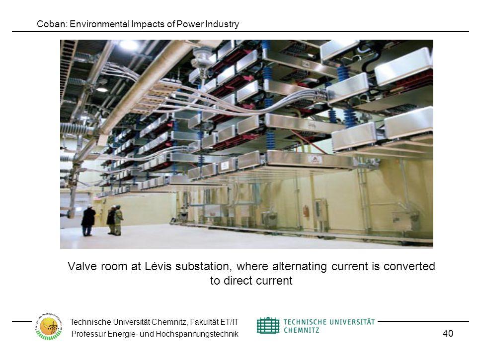 Coban: Environmental Impacts of Power Industry Technische Universität Chemnitz, Fakultät ET/IT Professur Energie- und Hochspannungstechnik Valve room at Lévis substation, where alternating current is converted to direct current 40