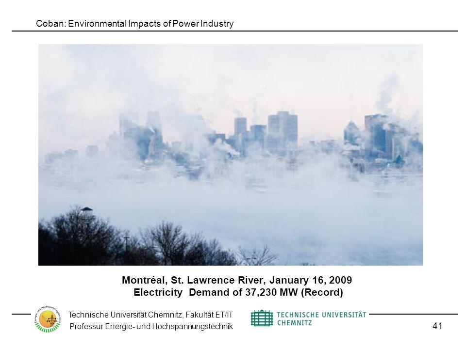 Coban: Environmental Impacts of Power Industry Technische Universität Chemnitz, Fakultät ET/IT Professur Energie- und Hochspannungstechnik Montréal, St.