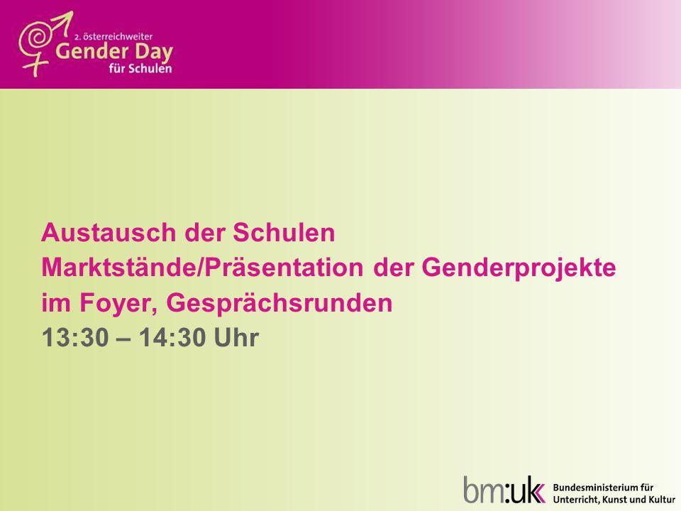 Austausch der Schulen Marktstände/Präsentation der Genderprojekte im Foyer, Gesprächsrunden 13:30 – 14:30 Uhr