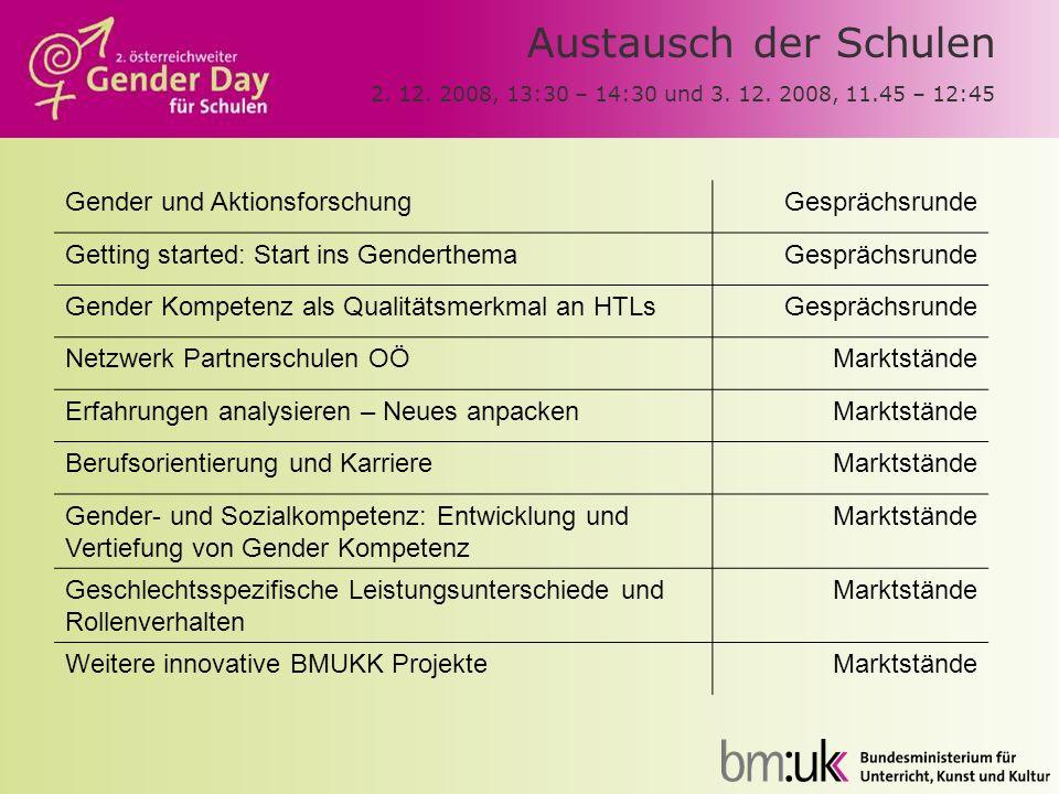 Austausch der Schulen 2. 12. 2008, 13:30 – 14:30 und 3. 12. 2008, 11.45 – 12:45 Gender und AktionsforschungGesprächsrunde Getting started: Start ins G