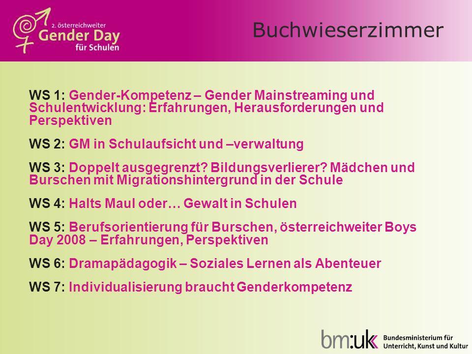 Buchwieserzimmer WS 1: Gender-Kompetenz – Gender Mainstreaming und Schulentwicklung: Erfahrungen, Herausforderungen und Perspektiven WS 2: GM in Schul