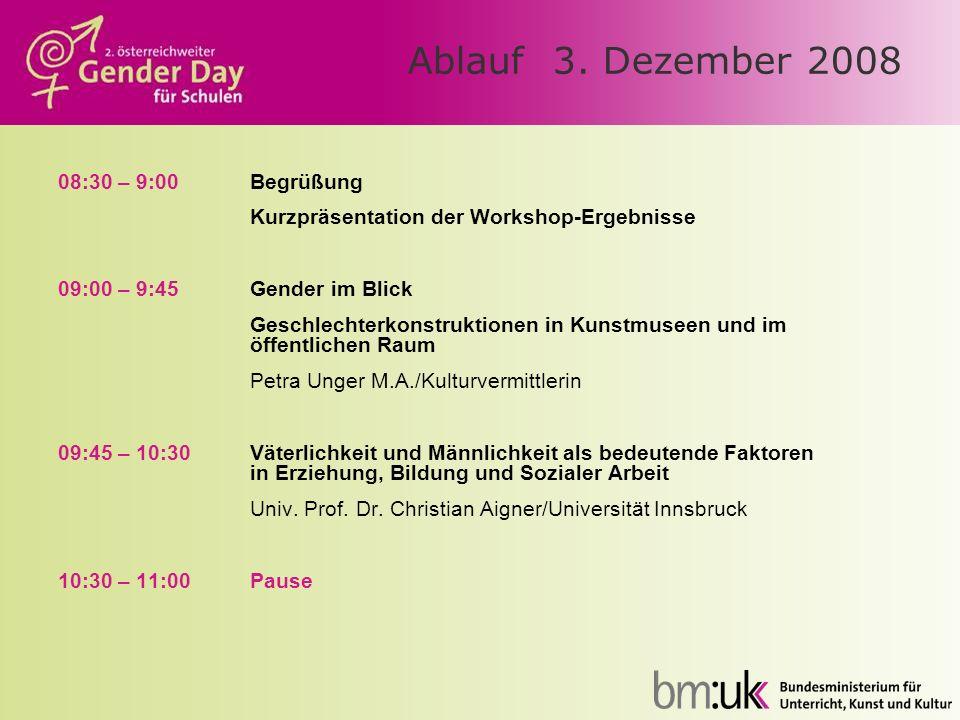 Ablauf 3. Dezember 2008 08:30 – 9:00Begrüßung Kurzpräsentation der Workshop-Ergebnisse 09:00 – 9:45Gender im Blick Geschlechterkonstruktionen in Kunst