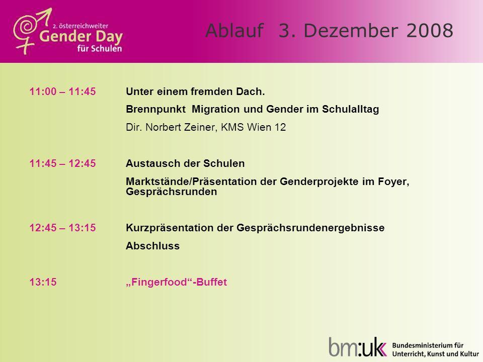 Ablauf 3. Dezember 2008 11:00 – 11:45Unter einem fremden Dach. Brennpunkt Migration und Gender im Schulalltag Dir. Norbert Zeiner, KMS Wien 12 11:45 –