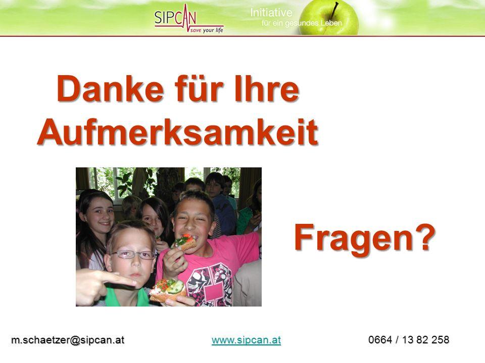 Danke für Ihre Aufmerksamkeit Fragen? m.schaetzer@sipcan.at www.sipcan.at 0664 / 13 82 258 m.schaetzer@sipcan.at www.sipcan.at 0664 / 13 82 258www.sip