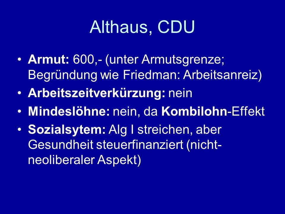 Althaus, CDU Armut: 600,- (unter Armutsgrenze; Begründung wie Friedman: Arbeitsanreiz) Arbeitszeitverkürzung: nein Mindeslöhne: nein, da Kombilohn-Eff