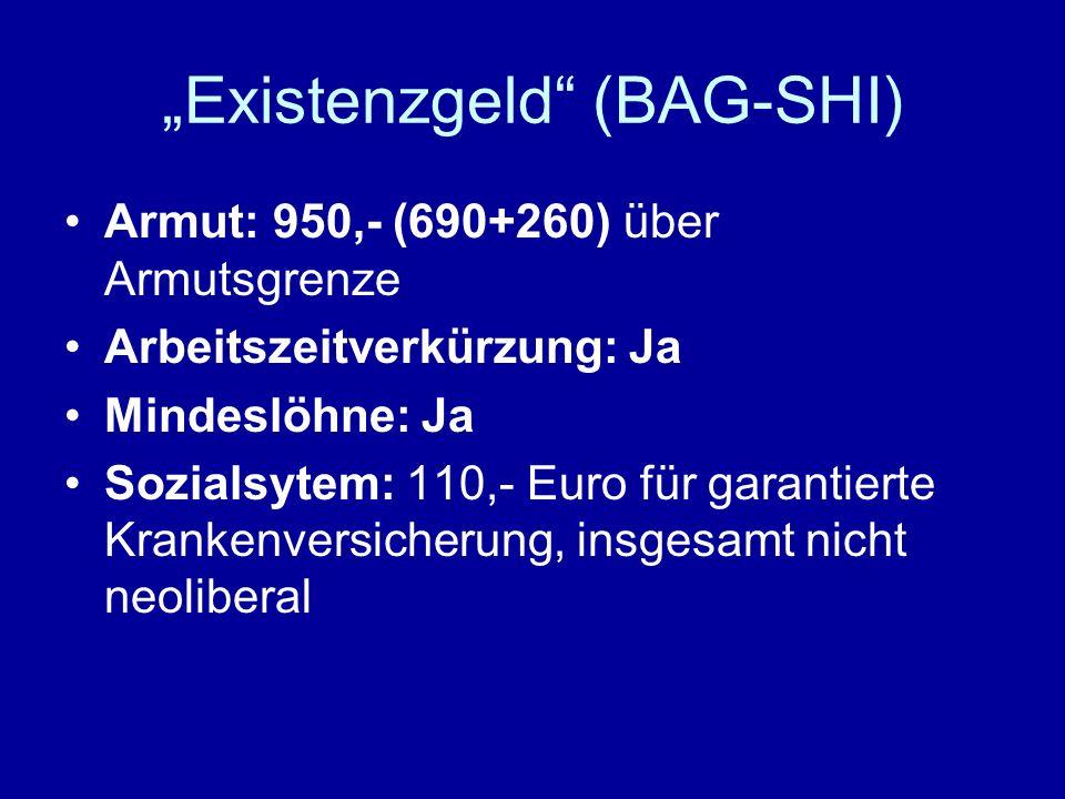 Existenzgeld (BAG-SHI) Armut: 950,- (690+260) über Armutsgrenze Arbeitszeitverkürzung: Ja Mindeslöhne: Ja Sozialsytem: 110,- Euro für garantierte Kran