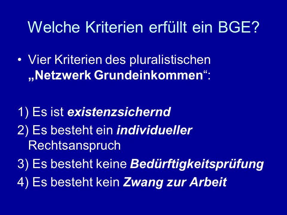 Welche Kriterien erfüllt ein BGE? Vier Kriterien des pluralistischen Netzwerk Grundeinkommen: 1) Es ist existenzsichernd 2) Es besteht ein individuell