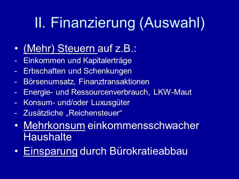 II. Finanzierung (Auswahl) (Mehr) Steuern auf z.B.: -Einkommen und Kapitalerträge -Erbschaften und Schenkungen -Börsenumsatz, Finanztransaktionen -Ene