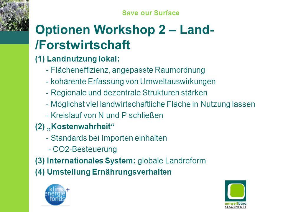 Save our Surface Optionen Workshop 2 – Land- /Forstwirtschaft (1) Landnutzung lokal: - Flächeneffizienz, angepasste Raumordnung - kohärente Erfassung von Umweltauswirkungen - Regionale und dezentrale Strukturen stärken - Möglichst viel landwirtschaftliche Fläche in Nutzung lassen - Kreislauf von N und P schließen (2) Kostenwahrheit - Standards bei Importen einhalten - CO2-Besteuerung (3) Internationales System: globale Landreform (4) Umstellung Ernährungsverhalten