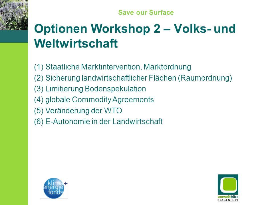 Save our Surface Optionen Workshop 2 – Volks- und Weltwirtschaft (1) Staatliche Marktintervention, Marktordnung (2) Sicherung landwirtschaftlicher Flächen (Raumordnung) (3) Limitierung Bodenspekulation (4) globale Commodity Agreements (5) Veränderung der WTO (6) E-Autonomie in der Landwirtschaft