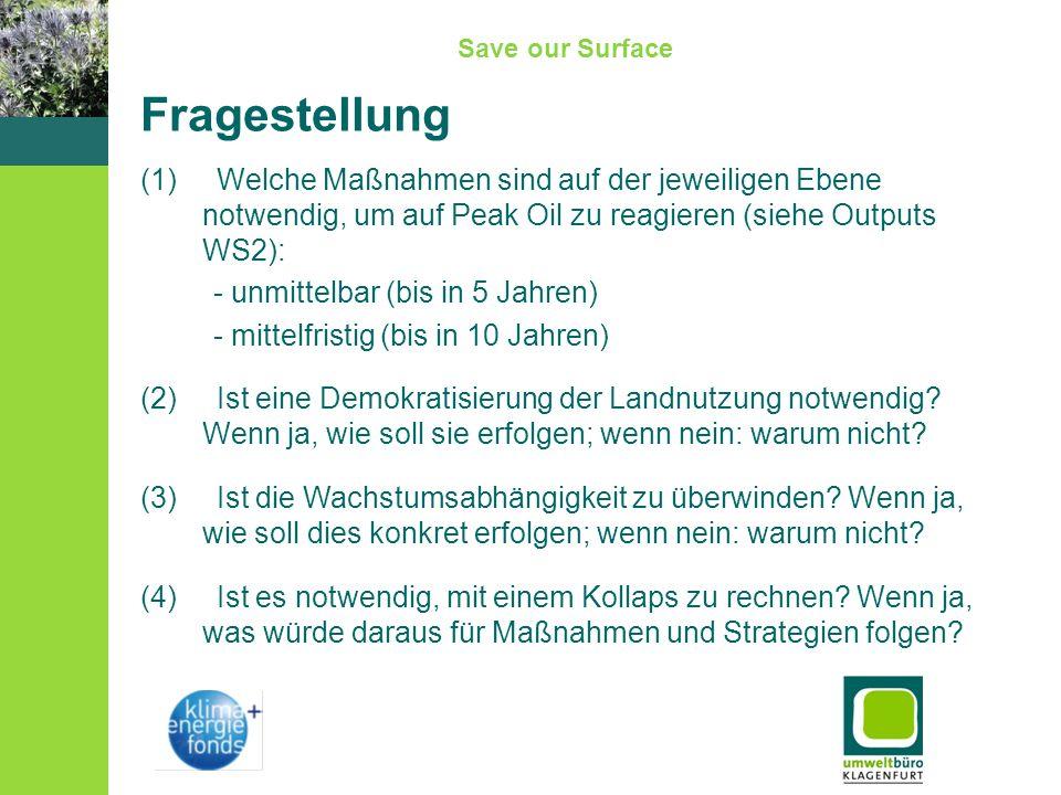 Save our Surface Fragestellung (1) Welche Maßnahmen sind auf der jeweiligen Ebene notwendig, um auf Peak Oil zu reagieren (siehe Outputs WS2): - unmit