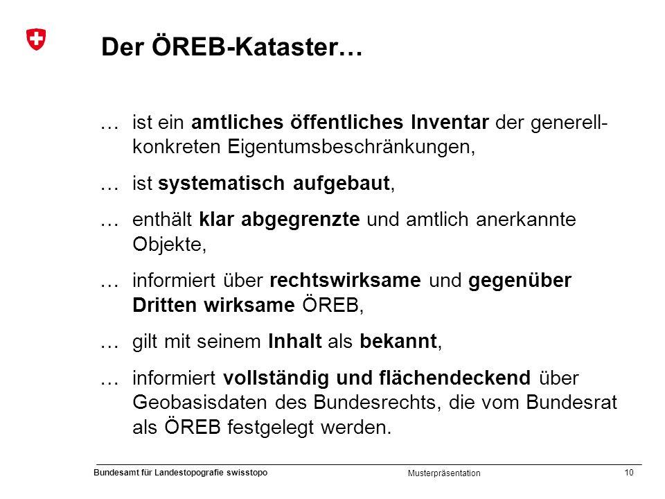 10 Bundesamt für Landestopografie swisstopo Musterpräsentation Der ÖREB-Kataster… … ist ein amtliches öffentliches Inventar der generell- konkreten Ei