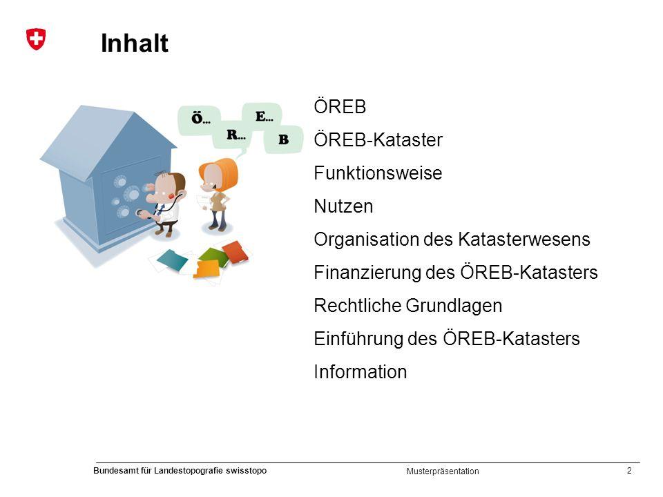 2 Bundesamt für Landestopografie swisstopo Musterpräsentation Inhalt ÖREB ÖREB-Kataster Funktionsweise Nutzen Organisation des Katasterwesens Finanzie