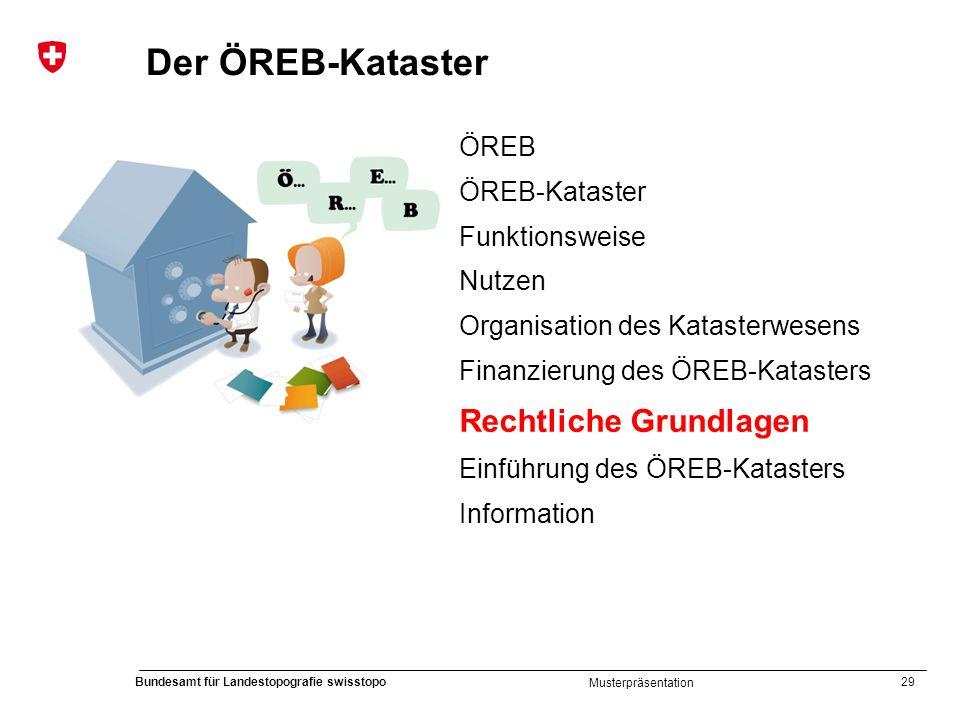 29 Bundesamt für Landestopografie swisstopo Musterpräsentation Der ÖREB-Kataster ÖREB ÖREB-Kataster Funktionsweise Nutzen Organisation des Katasterwes