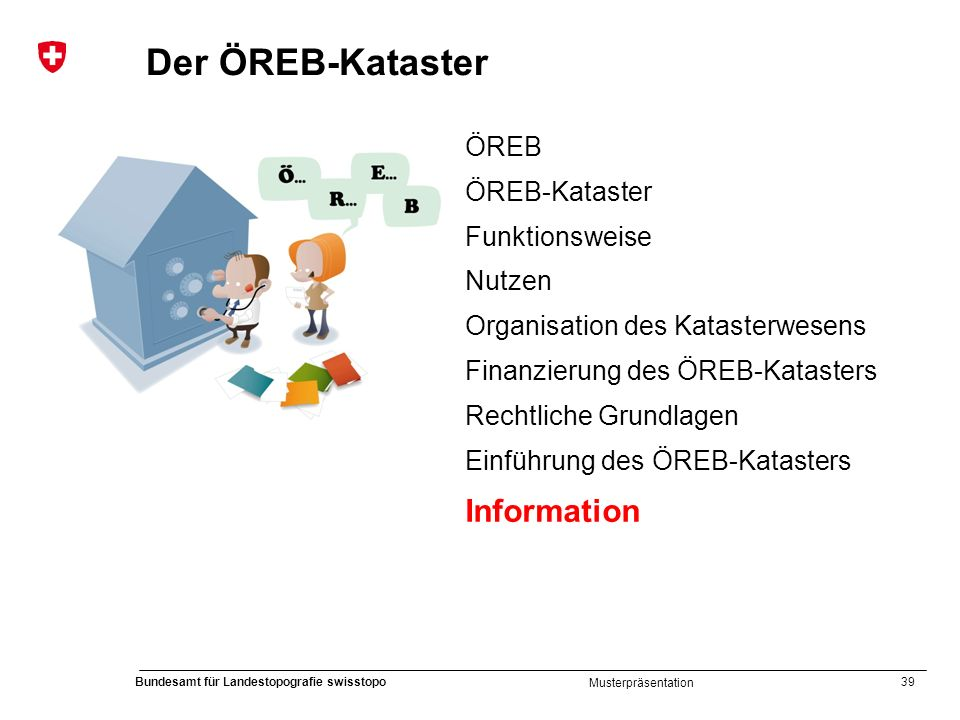 39 Bundesamt für Landestopografie swisstopo Musterpräsentation Der ÖREB-Kataster ÖREB ÖREB-Kataster Funktionsweise Nutzen Organisation des Katasterwes